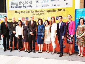 Ms. Farhan at Ring the Bell for Gender eqality Evetn on IWD, 2018 Bangkok